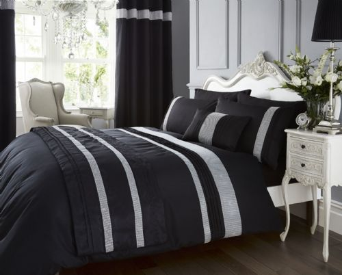 BLACK COLOUR STYLISH DIAMANTE GLAMOUR GLITZY DUVET QUILT COVER LUXURY SPARKLE BEDDING